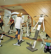 In-house fitness room at Guesthouse Liechtenstein